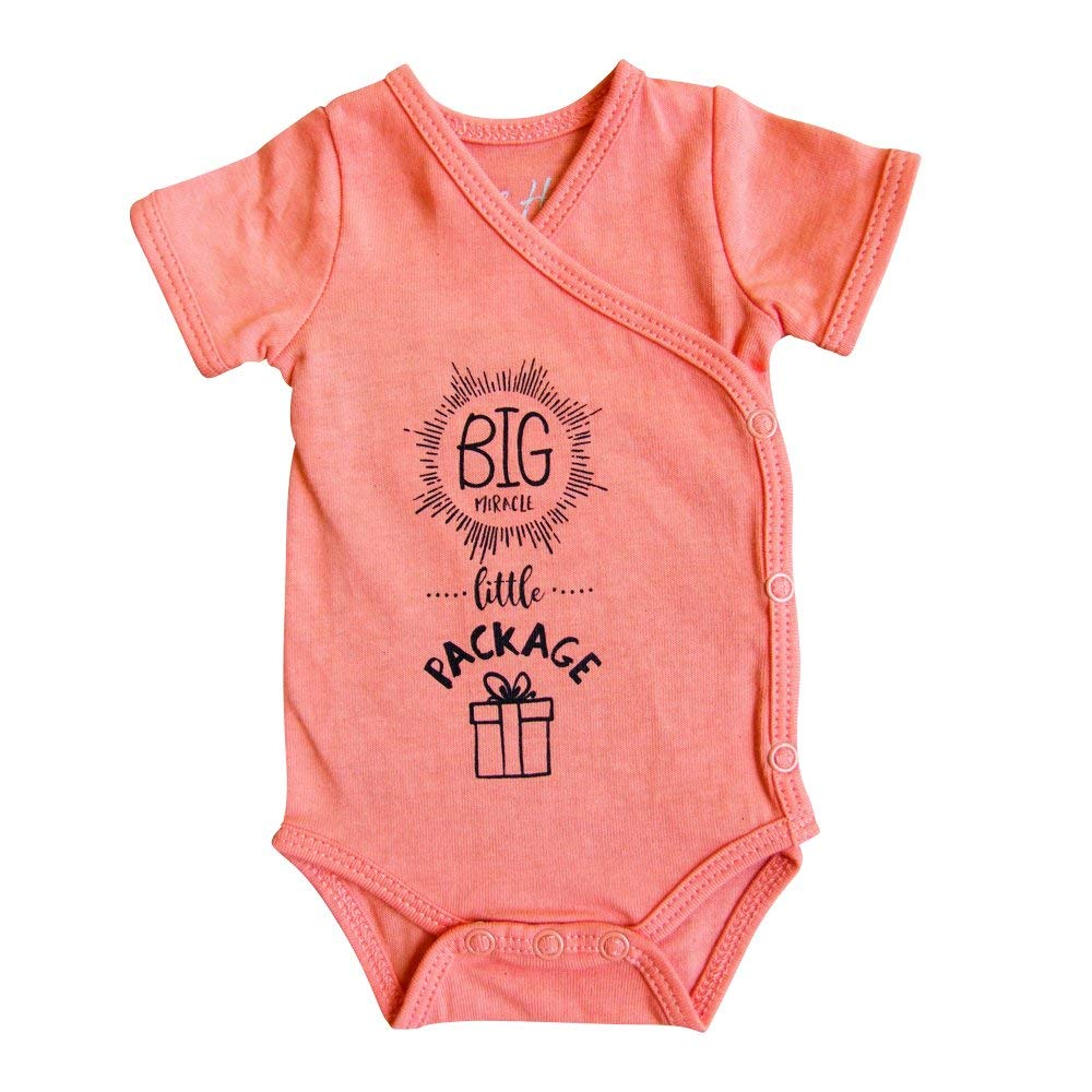 Girls' Preemie Onesie-100% Organic Cotton-'Big Miracle Little Package' NICU Nurse Approved Clothing