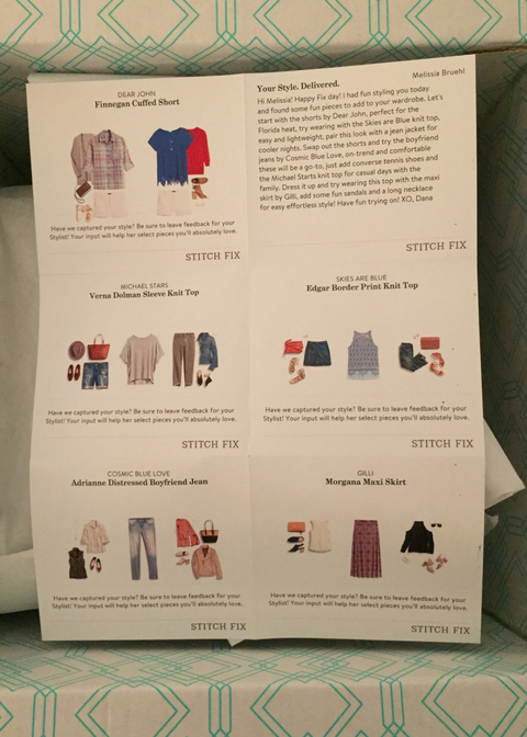 Stitch Fix April 2018 Style Sheet